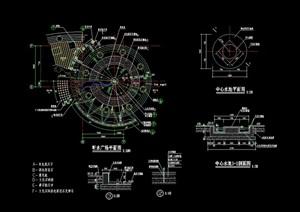 圓形詳細的完整旱水噴泉設計cad施工圖