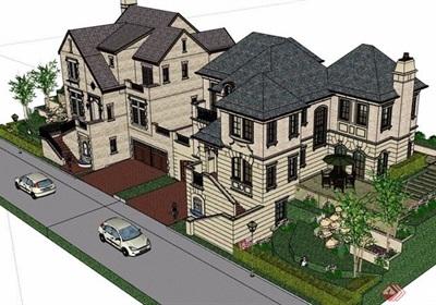 某雙拼詳細的完整別墅設計su模型含庭院