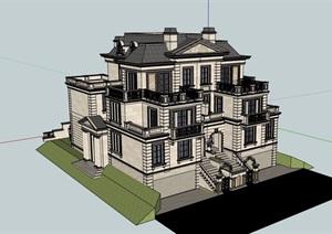 美式详细的完整多层别墅建筑SU(草图大师)模型