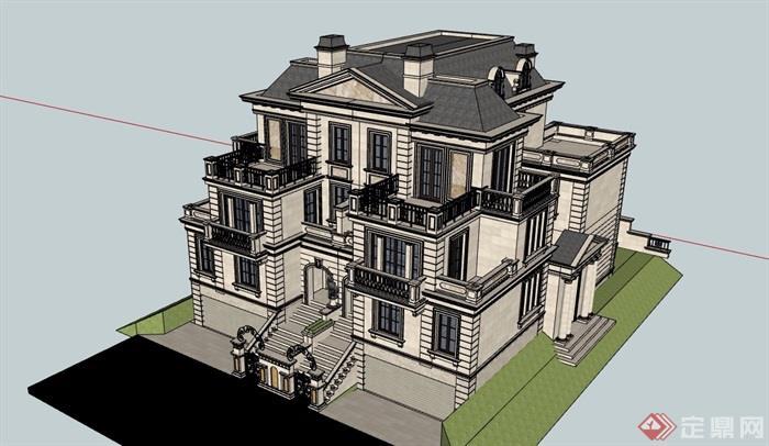 美式詳細的完整多層別墅建筑su模型