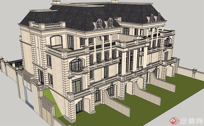 法式聯排別墅建筑su模型帶效果圖