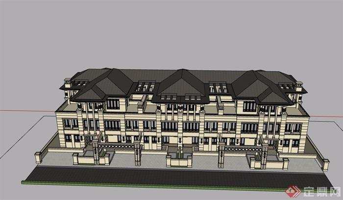 新古典風格詳細完整的多層別墅設計su模型帶效果圖