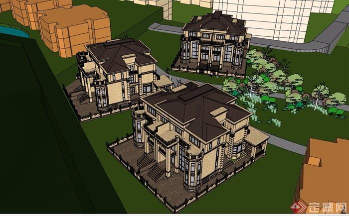歐式詳細的整體完整別墅設計su模型