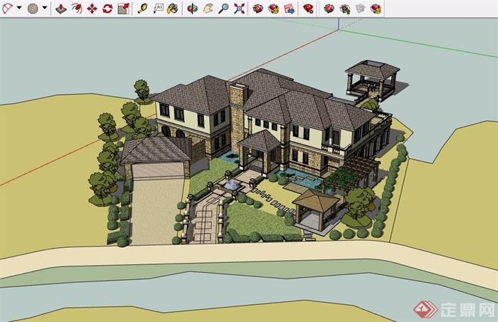 歐式詳細濱水別墅多層建筑設計su模型