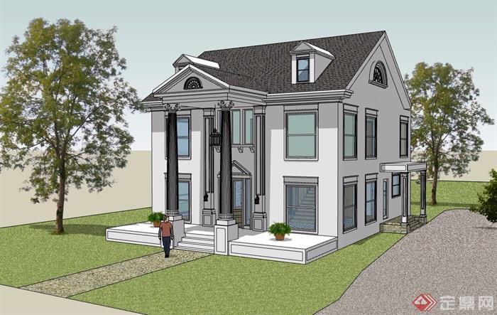 美式风格两层详细农村自建别墅设计su模型