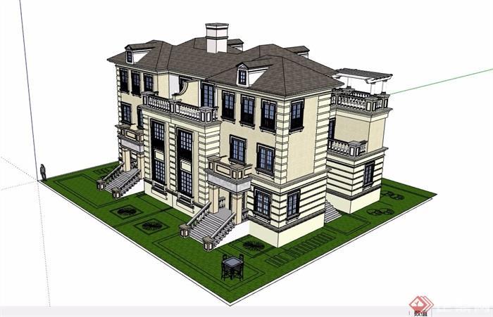 雙拼詳細的完整別墅設計su模型