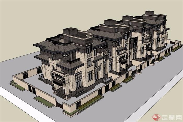 法式聯排別墅詳細完整設計su模型