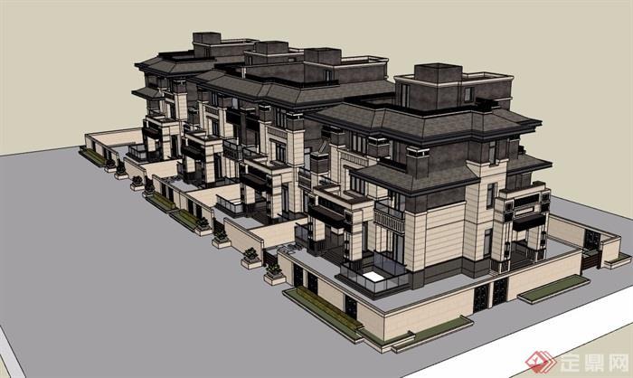 法式联排别墅详细完整设计su模型