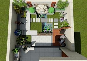 现代简约风庭院设计完整设计SU(草图大师)模型