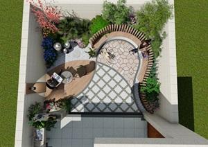 美式花园庭院水景休闲平台
