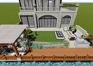 现代简约风格别墅庭院设计SU(草图大师)模型