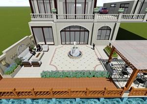 简欧风格庭院设计,喷泉