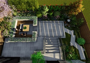 现代简约庭院设计 下沉休闲区