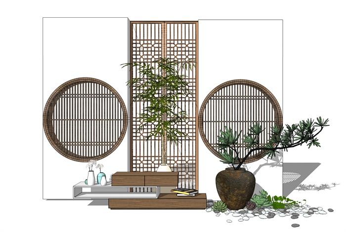 新中式景墻電視柜陶罐小品 su模型(1)