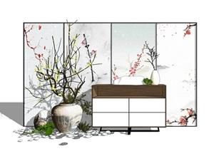 新中式玄关 隔断 陶罐干支小品组合SU(草图大师)模型