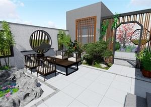 新中式详细庭院设计SU(草图大师)模型