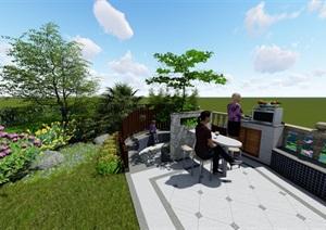 简欧庭院花园SU(草图大师)模型方案设计