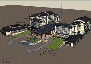 东南亚风格酒店大型建筑设计SU(草图大师)模型