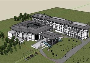 某中式详细的大型酒店设计SU(草图大师)模型