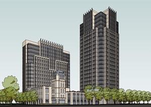 新古典风格详细完整的高层办公建筑SU(草图大师)模型