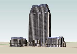 新古典办公楼详细完整设计SU(草图大师)模型