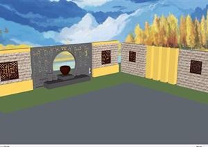 中式风格详细的景观墙素材SU(草图大师)模型