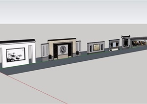 六种详细的中式景墙素材SU(草图大师)模型