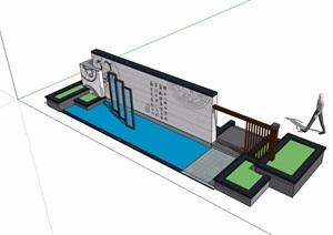 现代中式素材详细完整的景墙设计SU(草图大师)模型