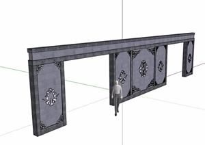 中式详细的完整景墙设计SU(草图大师)模型