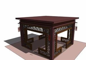 两个中式风格详细的景观亭子SU(草图大师)模型