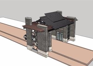 中式风格详细的完整小区侧门素材设计SU(草图大师)模型