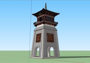 古典中式风格详细节点塔设计SU(草图大师)模型