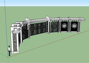 中式独特详细的完整大门设计SU(草图大师)模型