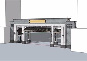 中式详细完整的小区大门设计SU(草图大师)模型