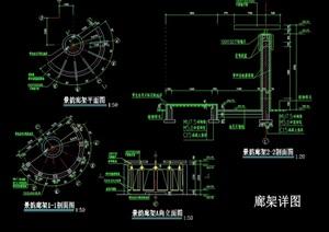 详细的完整廊架素材设计cad施工图
