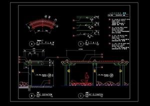 详细的廊架素材设计cad施工图英文版