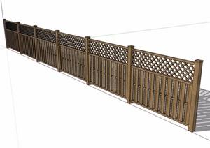 木围栏围墙素材SU(草图大师)模型