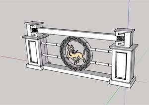 汉唐无材质贴图栏杆素材SU(草图大师)模型