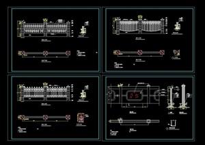 四种不同的详细围墙cad施工图