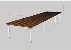 欧式柱子木廊架素材SU(草图大师)模型