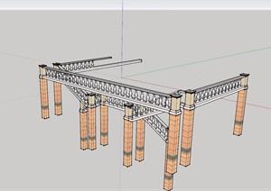 欧式栏杆斜素材设计SU(草图大师)模型