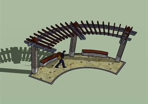 弧形廊架素材设计SU(草图大师)模型