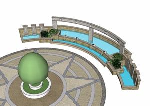 水池景墙及树池素材设计SU(草图大师)模型