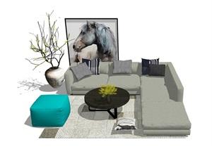 现代风格客餐厅家具组合SU(草图大师)模型