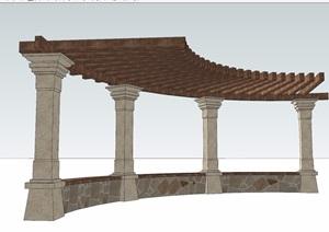 小半圆廊架详细设计SU(草图大师)模型