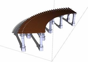 半圆廊详细设计SU(草图大师)模型