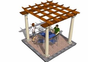 园林景观详细的休闲廊架SU(草图大师)模型han桌椅