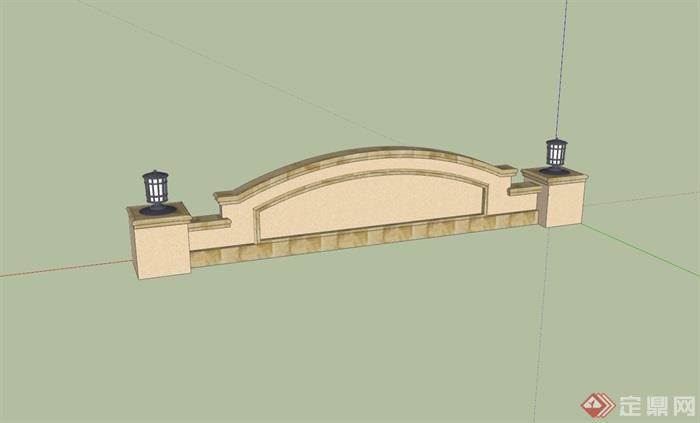 欧式风格详细的完整标志景墙素材设计su模型