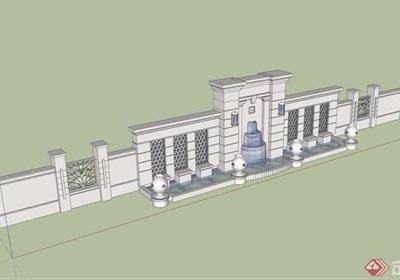 现代详细的水池景观墙设计su模型