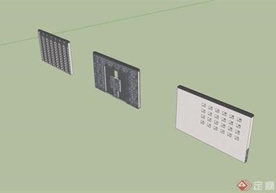 三个详细的完整景墙设计su模型